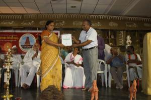 Gavyachari Samman by Indian Cell Therepy (Aurvedik Industrial School Tamilnadu) to Sangitha Ji by D. G. Mani.